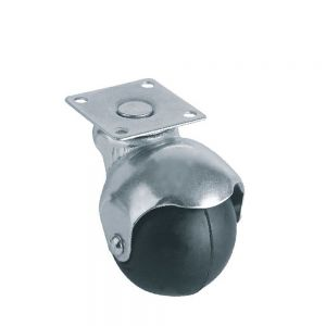 Economy Rubber Ball Castors - Chrome